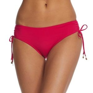 Anne Cole Solid Pink Bikini with Ruched Side Ties